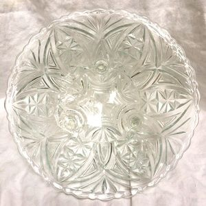 Vintage footed cut glass serving bowl